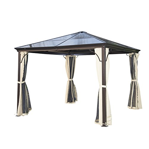 Outsunny 10' x 10' Aluminum Frame and Polycarbonate Hardtop Gazebo Canopy Cover with Mesh Net Curtains & Durability