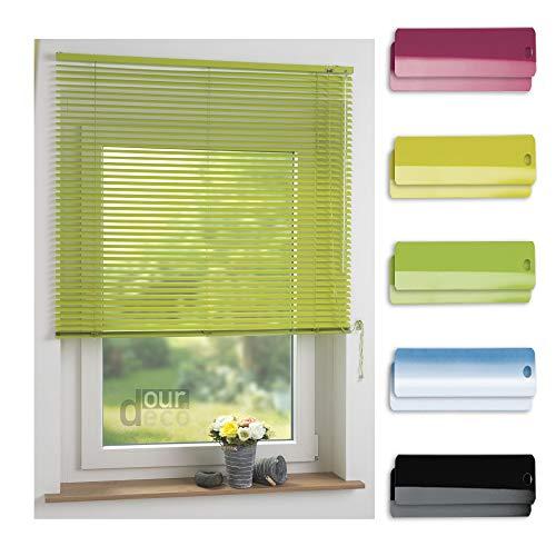 ourdeco® Aluminium-Jalousie / 120 x 160 Apfelgrün (Breite x Höhe) / Montage an Wand oder Decke, Premium Alu-Jalousie