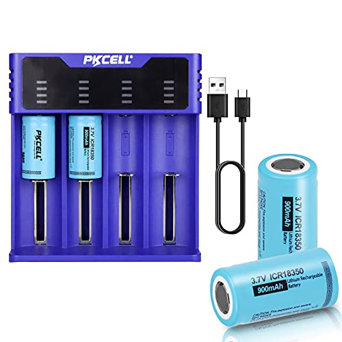 18350 Lithium Battery 3.7V ICR18350 900mAh Rechargeable Battery with 4 Slot Smart Battery Charger