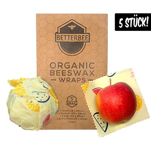 BetterBee Wachspapier 5er Set – Bio Bienenwachstuch mit Zirtonenöl Alternative für Frischhaltefolie und Alufolie Enthält 5 Tücher - Verschiedene Größen