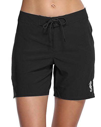Sociala Long Board Shorts for Women Swim Quick Dry Boardshorts Swimsuit Bottoms