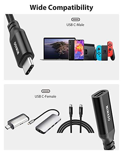 Nimaso USB C Verlängerung Kabel 3.1 Gen 2(10Gbps) 1M USB C-Verlängerungskabel Typ C-Stecker auf Buchse 100W kompatibel mit MacBook Pro,MacBook Air 2020,iPad Pro 2020,Huawei MateBook,Galaxy S20/10