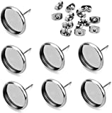 40pcs 12mm Stainless Steel Blank Stud Earring Bezel Setting for Jewelry Making with 40pcs Surgical Steel Earring Backs DIY Findings (9851)