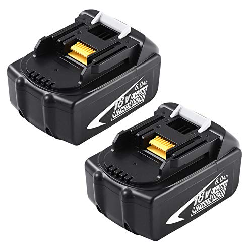 2 Pack 6.0Ah BL1860 Replacement for Makita 18V Battery Lithium-ion Compatible with Makita 18 Volt Battery LXT BL1860B BL1850 BL1850B BL1840 BL1840B BL1830 BL1830B BL1815 BL1815B