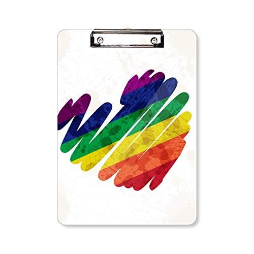 Schilderij Hart LGBT Regenboog Klembord Folder Schrijven Pad Backing Plate A4