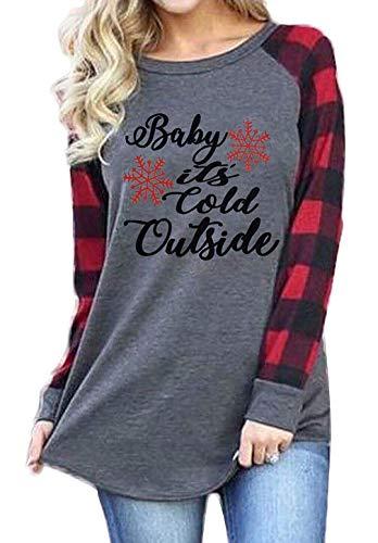Baby It's Cold Outside Christmas Shirt Women Plaid Splicing Long Sleeve Baseball T Shirt Snowflake Graphic Tees (Gray, S)