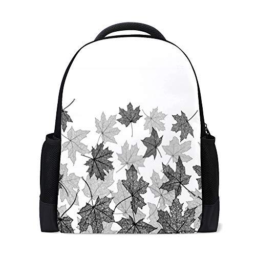 HAOXIANG - Mochila escolar con diseño de hojas de arce para niños y estudiantes Color1 16x11x6