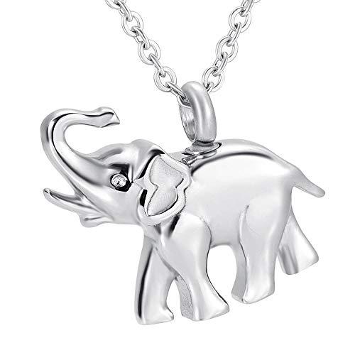 GYBDD Steel Pendant Memorial Keepsake Ashes Necklace Keepsake Jewelry Stainless Steel Cute Elephant Eternity Keepsake Pendant Jewelry Memorial Funeral Ashes Holder Locket Pendant Urn