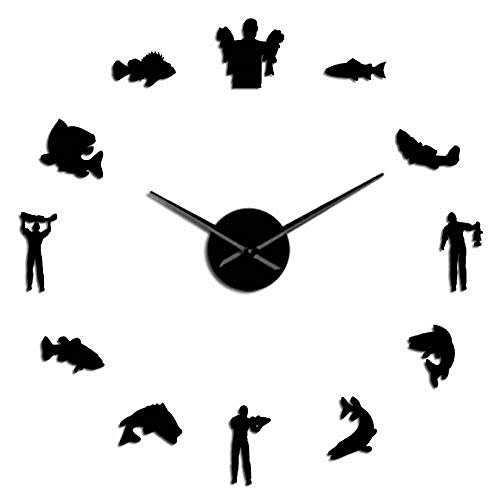 TRSMXYW Wall Clocks for Living Room Fishing Hobby Acrylic Simple DIY 3D Effect Fisherman Size Adjustable Home Decor Mute Watch Dad Grandfather Gifts 47Inch Best Gift
