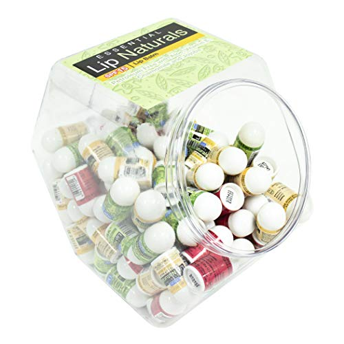 Lip Naturals | Assorted Mini Lip Balm Sticks - 3 Flavors with Sunscreen Protection and Vitamin E | 120 Count Fishbowl Display - Includes Bing Cherry (SPF-15), Tea Tree Mint (SPF-15), and Vanilla Bean (SPF-15)