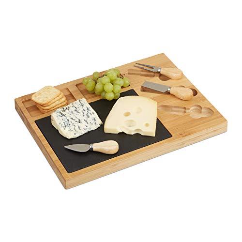 Relaxdays 10022234, natur Käsebrett Set, Bambus Käseplatte unterteilt, 3 Käsemesser, Schieferplatte, HxBxT: 3 x 40 x 30 cm