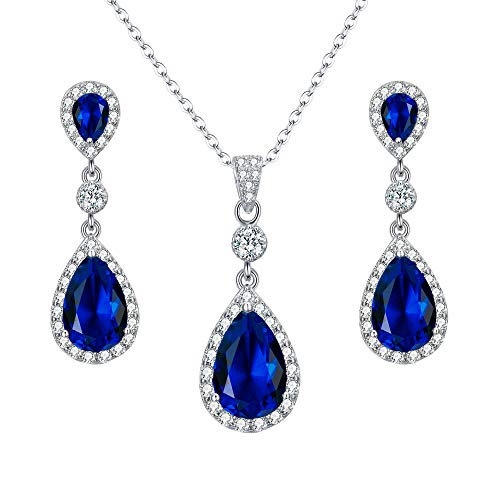 EleQueen 925 Sterling Silver Full Cubic Zirconia Oval Teardrop Bridal Pendant Necklace