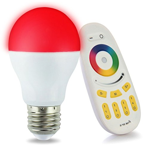 LIGHTEU, 1 x WiFi Ampoule LED Multicolore RVB/RGB + blanc chaud, Milight original®, 6W/E27, à intensité variable, avec télécommande 4 zones [Classe énergétique A+]