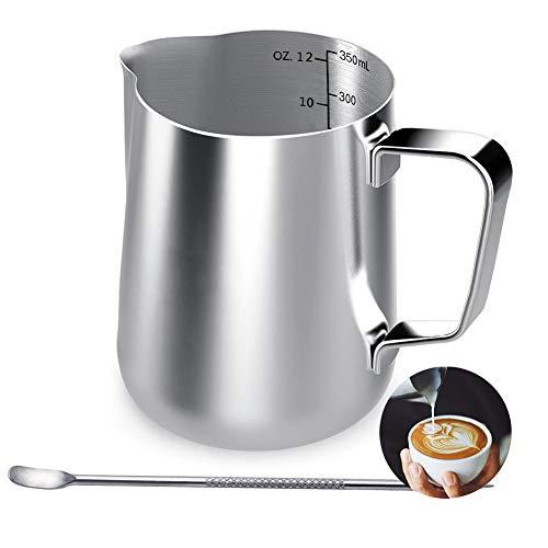 Milchkännchen, 350 ml Handheld Edelstahl Aufschäumkännchen, Kaffee Creamer Milch Aufschäumer Kännchen Tasse mit Messung Mark und Latte Art Pen, Milchkännchen perfekt für Barista Cappuccino Espresso