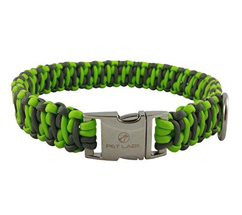 Pet Labs Paracord Dog Collar Flourescent Green and Dark Grey