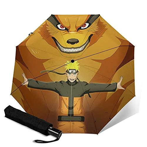 Anime Naruto and Kurama paraguas plegable automático portátil para mujeres y hombres reforzado resistente al viento marco impermeable y resistente a los rayos UV