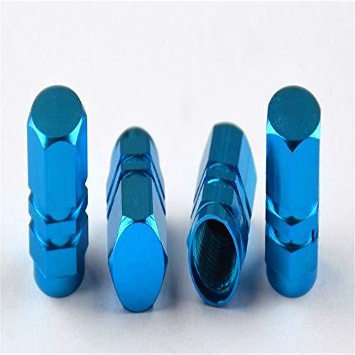 Hjiaqi - lovely 4PCS Autoreifen Ventilkappen, Bolt-in Aluminium diebstahlsicheren Ventilkappen, Auto-Rad-Reifen Ventile Reifenstammluftkappen Autozubehör, (Color : Blue)