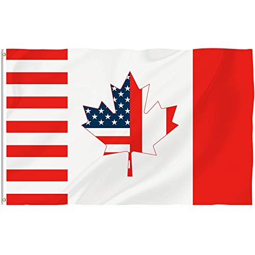 Bonsai Tree 3x5 Feet Canadian Flag - Vivid Color and Double Sided - Canada Maple Leaf National Flags Polyester with Brass Grommets, American Canadian Combination Flag Outdoor Banners