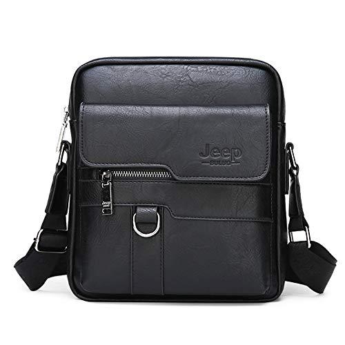 JEEP BULUO Men Messenger Shoulder Bags Daypack Business Casual(Black)