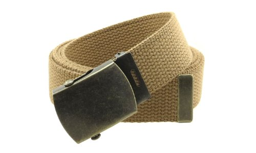 """Canvas Web Belt Military Style with Antique Brass Buckle and Tip 50"""" Long (Light Brown)"""