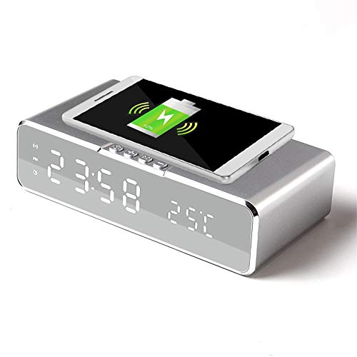 Reloj despertador de carga inalámbrica 2 en 1, cargador de productos inteligentes reloj despertador digital con termómetro para dormitorio, hogar, oficina