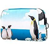 Kit de Maquillaje Neceser Pingüinos Iceberg Make Up Bolso de Cosméticos Portable Organizador Maletín para Maquillaje Maleta de Makeup Profesional 18.5x7.5x13cm