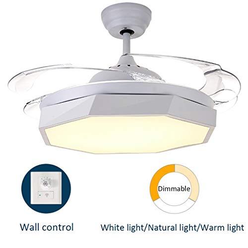 Nordic led-plafondventilatoren met lamp, dimbaar, voor eetkamer, slaapkamer, hanglamp, bar, restaurant, café, kroonluchter, onzichtbare ventilator, 48 W