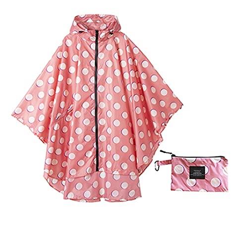 SASAU Capa de Lluvia de la Moda de la Moda de la Lluvia Impermeable la Capa de Poncho de la Lluvia con Capucha para Caminatas para Caminar Escalada y Recorrido (Color : Pink Dots)