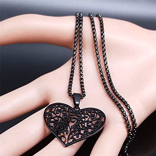 N/A Regalo Colgante de Collar de Mujer Corazón Árbol de la Vida Collar de Acero Inoxidable Mujer Color Negro Collar Llamativo Joyería