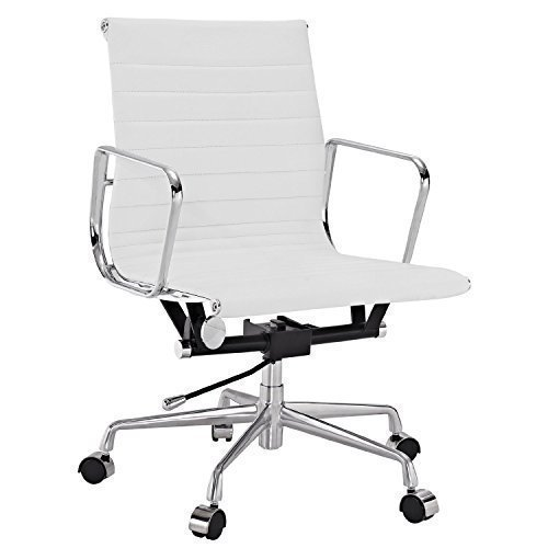 Echtes weiß Leder Charles Eames Era Gerippter Bürostuhl Low Back