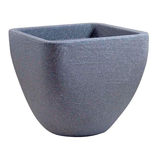 Lot de 3 pots de fleurs carrés - Base ronde - 33,5 x 33,5 x 33 cm - Granit