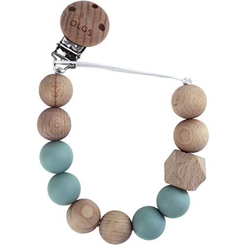 Schnullerkette aus Silikon und Holz für Babys & Kleinkinder | Pastell Blau Schnullerbald mit Clip | BPA-frei und einfach zu reinigen | Schnuller Kette für Junge (Ether)