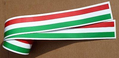ITALIENISCHE FLAGGE STREIFEN KLEBEBAND aufkleber 1220x50mm 2 LÄNGEN mit weißen bordüre