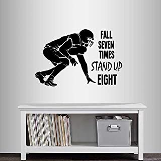 Wall Vinyl Decal Home Decor Art Sticker Fall Seven Times Stand Up Eight Quote Phrase Football Player Boy Guy Sportsman Sport Team Room Removable Stylish Mural Unique Design