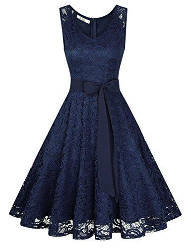 KOJOOIN KOJOOIN Damen Kleid Brautjungfernkleid Knielang Spitzenkleid Ärmellos Cocktailkleid Dunkelblau Navyblau XL