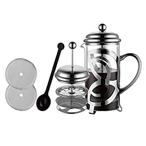 Meelio French Press Coffee Maker,304 Grade Stainless Steel & Heat Resistant Borosilicate Glass, (1 Liter,34OZ), Gift Set with Coffee Measuring Spoon & Two Filter Screens
