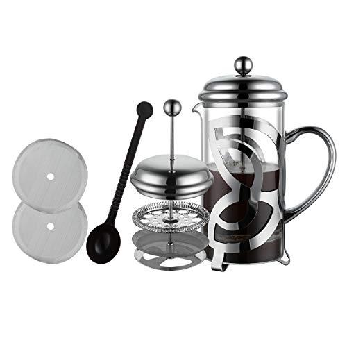 MeelioCafe Kaffeepresse French Press 1L(6 Tassen), Kaffeebereiter mit Edelstahl Filter - Hitzebeständiges Glas, Kaffeepresse inkl. Ersatzfilter & Kaffeelöffel | Kaffeepresse - auch für Tee