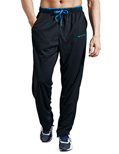 ZENGVEE Sweatpants for Men with Zipper Pockets Open Bottom Athletic Pants for Jogging, Workout, Gym, Running, Training (BlackBlue01,XL)