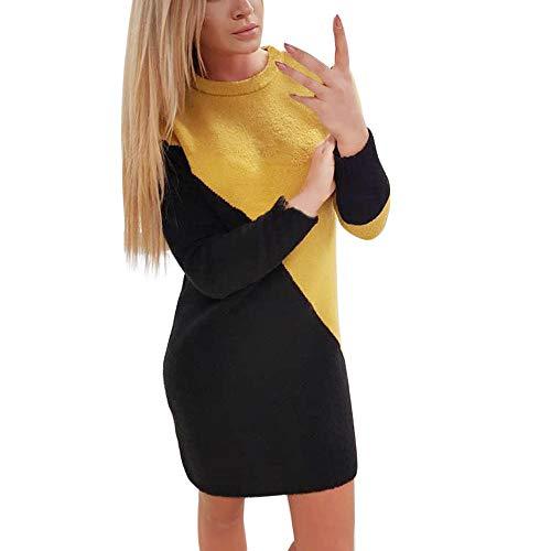 VEMOW Damen Kleider, Frauen Solid O-Neck Long Pullover Casual Langarm Kleid(X1-b-Schwarz, 34/M