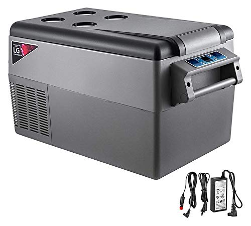 SHUHANG 35L compresor portátil pequeño refrigerador Coche refrigerador congelador vehículo vehículo camión RV Barco Mini eléctrico refrigerador (Color : Black, Size : 55L)