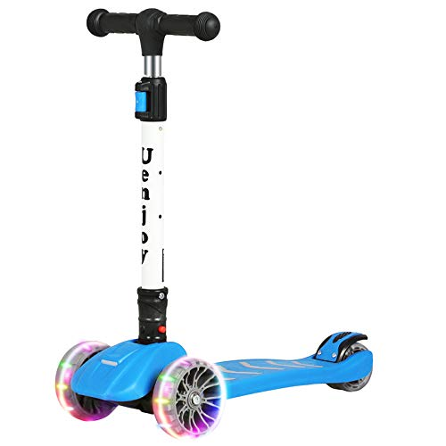 Uenjoy Kick Scooter Kids 3 Wheel Scooter for Boys Girls, Adjustable Height, PU Light Up LED Wheels, Weight Capacity 176LBS,Foldable and Easy to Carry, Suitable for 3-12 Years,Blue