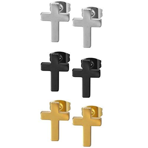Flongo Pendientes de cruz de acero inoxidable, pendientes para hombre y mujer, color negro, pequeños pendientes de cruz pulidos 3 colores.