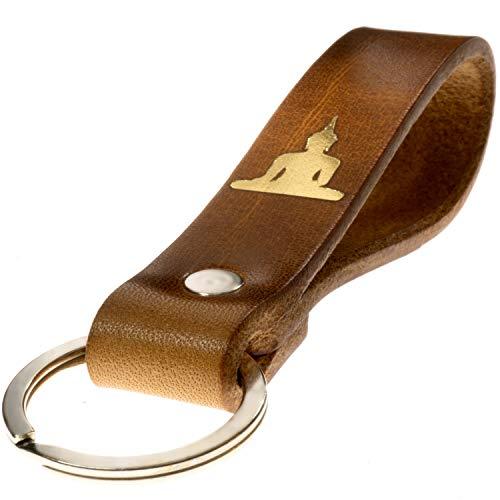 LIEBHARDT nachhaltig Geschenk aus pflanzlich gegerbtem Leder Schlüsselanhänger mit Spruch für deinen Lieblingsmensch ob Frau oder Mann Handmade in Germany (Buddha)