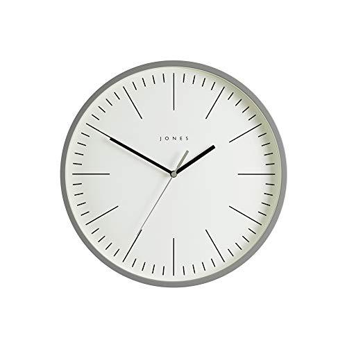 JONES CLOCKS® Spartacus Wanduhr, minimalistisches Design, farbiges Gehäuse, farbenes Zifferblatt, Schwarze und graue Zeiger, 30 cm (Grau)