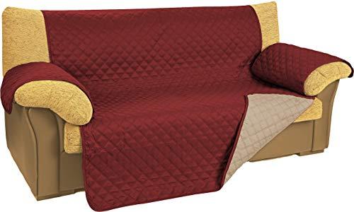 npt - Funda de Sofá/Cobertor de Sofá. Protector para Sofás con relleno Acolchado y Reversible, doble cara. Disponible hasta 4 plazas y 5 colores (granate, 3 plazas)