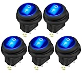 DaierTek 5pcs 12V 20A Waterproof Rocker Switch Blue LED Lighted Round ON/Off 3 pins Weatherproof Toggle for Marine Car RV Truck
