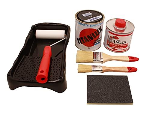 Esmalte sintético (750 gr) mas disolvente profesional (500gr), juego de pintura titanlux mas disolvente mas 2 brochas (del 12 y del 24) mas cubeta con rodillo pequeño mas esponja de lija. (Negro)