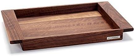 Preisvergleich für NATUREHOME NH-E Holztablett Nussbaum - 45x29x5cm Serviertablett aus Massivholz im Landhaus Stil Deko Tablett Holz Frühstückstablett elegante Servierplatte rechteckig mit Griffleisten