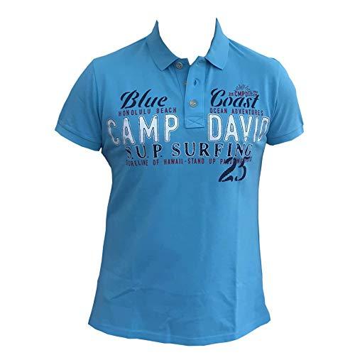 Camp David Herren Poloshirt CCU-1855-3547 S M L XL XXL XXXL (L, Aqua)
