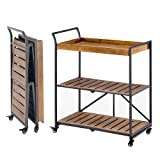 MELLCOM Folding Bar Cart Kitchen Serving Cart on Lockable Wheels 3-Tier Rolling Utility Cart with Storage for Home Kitchen, Rustic Brown